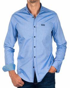 Open Blue//Grey  Long sleeve  Button down New Mens BOSS  Athleisure Shirt