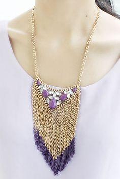 Collar cadenas dorado flecos rojo con piedra violeta EUR€6.02