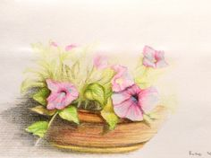 Flowers. The drawing made with colored pencils.