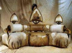 Exotic African Furniture | STRANGE AFRICAN MADE FURNITURE - SKINS, TUSKS & HORNS! - OVER STUFFED ..