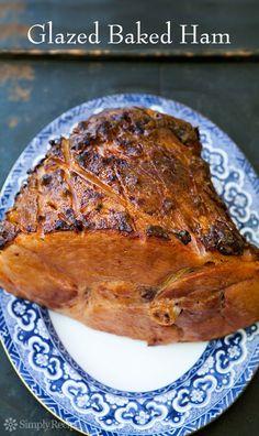 Glazed Baked Ham ~ Perfect for holiday entertaining! Glazed baked ham with sweet-hot-honey-mustard or honey-thyme glaze. ~ SimplyRecipes.com
