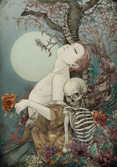 Death and the maiden grim reaper Father Time scythe maid girl woman dance danse macabre skull skeleton
