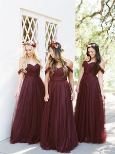 Bridesmaid Dresses 2018 Burgundy Bridesmaid Dresses Country Style Off Shoulder Beach Wedding Party Guest Dresses Maid of Honor Dress Cheap MUMU Tulle Long Different Bridesmaid Dresses, Country Bridesmaid Dresses, Bridesmaid Dresses Online, Wedding Bridesmaids, Burgundy Bridesmaid Dresses Long, Bohemian Bridesmaid, Wine Color Bridesmaid Dress, Green Bridesmaids, Country Dresses
