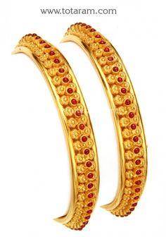 Gold Bangles in 22K - Set of 2 (1 Pair) (Temple Jewellery): Totaram Jewelers: Buy Indian Gold jewelry & 18K Diamond jewelry
