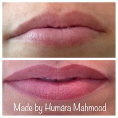 Permanent make up lips, before and predrawing