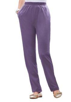Roamans Plus Size Tall Classic Soft Knit Pants (Sweet Grape,4X) Roamans. $17.49