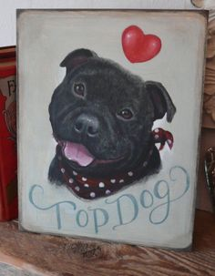 Staffordshire Bull Terrier Dog Shabby Chic Wooden Sign Print Painting Plaque   eBay