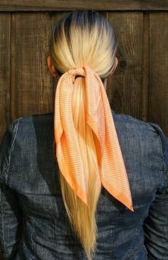Vintage Pastel Peach Orange & White Polka Dot Silk Scarf