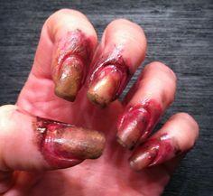 Zombie/insane asylum escapee nails for Halloween