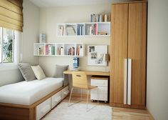 Teens Room: Stunning Teen Bedroom Furniture Design With Cedar Wood Wardrobe Simple Sudy Desk Wall Book Shelf Bed With Drawer Under Float Glass Window Laminate Flooring White Fur Rug: Trendy and Stylish Teen Room Comes with Attractive Furniture
