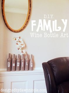 Another great wine bottle project! Would be cute if clips were attached to the top for pictures