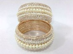 Stunning Bollywood Indian Costume Jewellery Bangles Kara Pearl Gold Stone Fancy