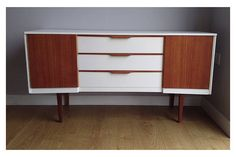 Mid Century Rare Modern Austinsuite White Curved Sideboard With Vinyl Storage photo 1