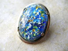 Blue Foiled Glass Brooch by 2VintageGypsies on Etsy