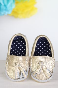 Golden Glam ~ Genuine Leather & Fabric Little Monkey Moccasins – Funky Monkey Fashion Accessories