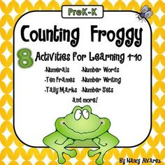 Counting Froggy math center activities includes 8 different math center activities to give your students plenty of practice counting, matching and identifying numerals, ten frames, number words, tally marks and number sets from 1-10.  key terms: Kindergarten, prek, math, ten frames, tally marks, counting, math centers
