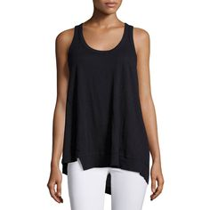 Jethro Twist Asymmetric Racerback Tank Top ($38) ❤ liked on Polyvore featuring tops, black, racer back tank, sleeveless pullover, asymmetrical tank, sleeveless tops and sweater pullover