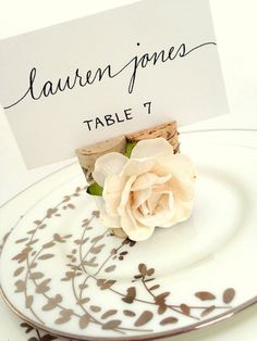 Classic Rose Wine Cork Place Card Holder Wrapped in Satin Ribbon