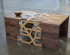 Geometrical Branching Coffee Table - Walnut & Bamboo Ply - Hand made-In Stock