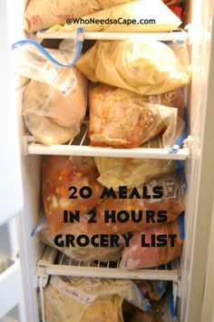 20 meals freezer cooking grocery list includes everything you need to make 20 meals in 2 hours - a must pin!