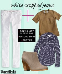 White cropped jeans aren't just for summer. Try THIS outfit idea after labor day PLUS learn how to style 5 more summer staples this fall: http://www.womenshealthmag.com/style/fall-outfits