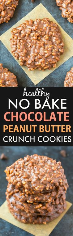 Healthy No Bake Chocolate Peanut Butter Crunch Cookies (Vegan, Gluten Free)- Easy, homemade cookies ready in 5 minutes and seriously delicious and addictive!