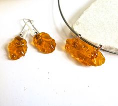 Amber Fused Glass Choker and Earrings Set by Glassimo on Etsy