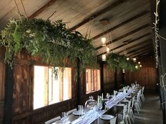 Love a dramatic all green suspended arrangement for a wedding. These were designed by Bliss Floral Creations to go above the guest tables at this beautiful barn wedding Personalized Wedding, Bliss, Floral Design, Tables, To Go, Barn, Table Decorations, Green, Furniture