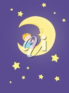 illustration of baby sitting on moon