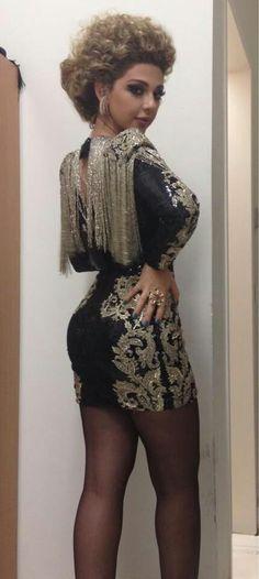 Myriam fares ♡ gold shoulders