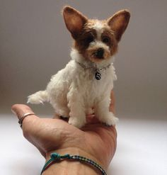 Needle felted Jack Russell/Needle Felted Dog /OOAK Collectible