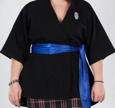 Wool Kimono Jacket in Black w/ Royal Blue Satin Belt