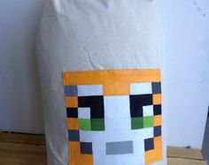 Minecraft cat draw-string backpack