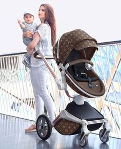 3 in 1 Leather Hot Mom Stroller High Landscape Folding Chair 360 Degree Rotation Luxury Pram With Bassinet Louis Vuitton Diaper Bag, Convertible Stroller, Umbrella Stroller, Baby Buggy, Baby Bling, Baby Girl Bedding, Baby Diaper Bags, Baby Carriage, Celebrity Moms