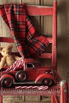 Old toy truck with teddy bear on red chair by Sandra Cunningham----Love the tartan! Tartan Christmas, Christmas Truck, Plaid Christmas, Primitive Christmas, Country Christmas, Winter Christmas, All Things Christmas, Christmas Home, Vintage Christmas