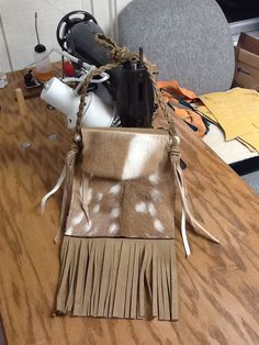 Handcrafted axis fringe shoulder bag  JDS Leather Kerrville, Texas Info@jdsleather.com