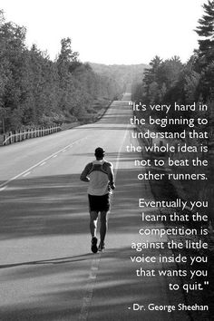 Fitness Motivation : Illustration Description competition is not with other runners, but a little voice inside your head that wants you to quit. Keep fighting, keep pushing. Workout this winter -Read More – Sport Motivation, Monday Motivation, Cross Country Quotes, Cross Country Running, Cross Country Motivation, Track Quotes, Running Quotes, Running Humor, Keep Running