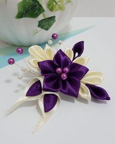 Kanzashi Flower Hair Clip or Brooch