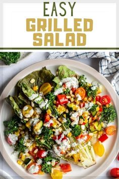 The perfect summer side dish or light dinner is this Easy Grilled Salad! This recipe is such a fun and simple way to serve up summer veggies! Perfect for grilling season! Romaine, zucchini, corn and bell peppers are grilled and then all of the vegetables are tossed in a homemade garlic dressing. This meal is perfect for potlucks, picnics and cookouts! Grilled Romaine Lettuce, Grilled Corn Salad, Healthy Salad Recipes, Whole Food Recipes, Easy Recipes, Vegan Recipes, Vegan Grilling, Grilling Recipes, Grilled Vegetables