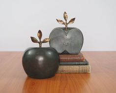 Green Apple Bookend Pair / Cast Plaster with by FireflyVintageHome