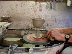 Throwing a clay pottery goblet on a potters wheel demonstration how to pot throw make - YouTube