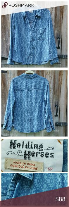 """NWOT Heritage Dip-Dye Shirt by Holding Horses Button front stylized floral chambray shirt in soft tencel.  Spread collar, front chest pocket, long sleeves, button cuffs, back vent. 100% tencel, machine wash/dry. Length from back of neck 24"""", width at bust 19"""", sleeve length 22.5"""". No tag but never worn. Anthropologie Tops Button Down Shirts"""