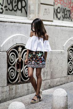 blog mode look tendance automne 2016 jupe brodée