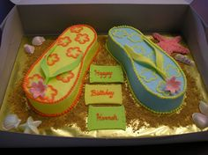 Copy of Judylic's Flip Flop Cake - I hope I did her cake justice.  I've never done one before and a friend requested a flip flop cake and I showed her pictures of all the ones here and she chose hers.  Marble cake with BC icing - fondant straps and towels.  Thanks Judylic.