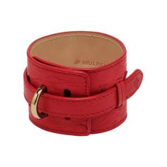 Wide Leather Bracelet in Bright Red Ostrich | Accessories | Mulberry