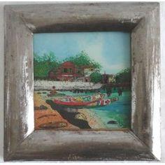 """Peinture sous-verre """"Lac Rose """""""