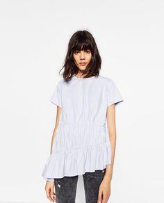 1491cb7ca83 Choies Sexy Women Blue White Off Shoulder Ruffle Casual Beach Sun Crop Top  Shirt…