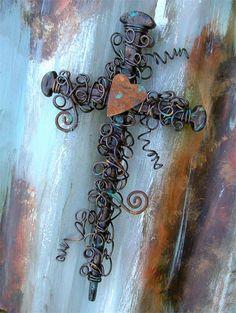 Rusty Heart Nail Wall Cross