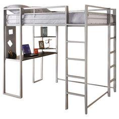 Abode Full Loft Bed with Desk and Bookshelves