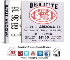 1980 #OSU #OhioState #Buckeyes vs. #ASU #SunDevils #collegefootball ticket art on canvas. Great Ohio State Buckeye fan man cave idea. #47straight #row1brand #sports #art
